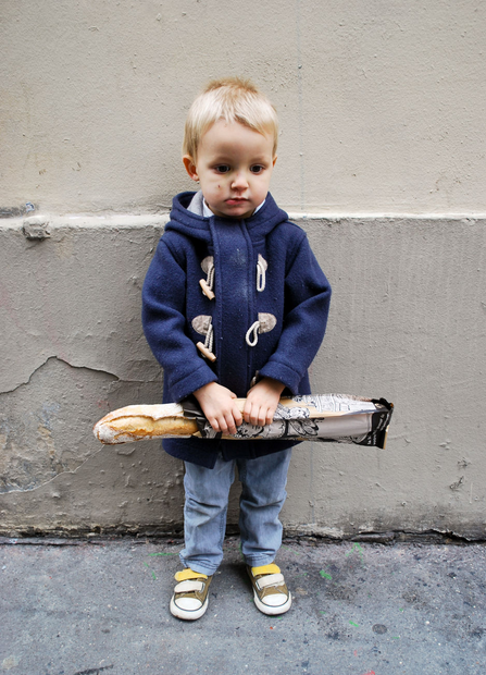 I am sad I will never be able to have a baby boy who is blond and french so he could hold a baguette so nervously like this one! so precious!!!